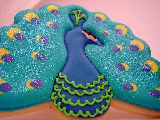Peacock cookie idea