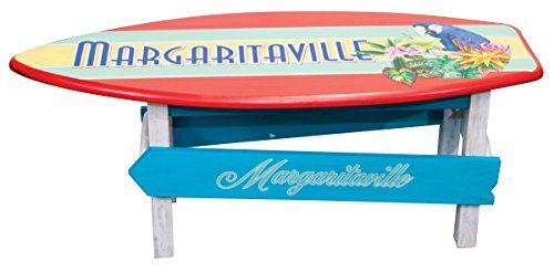 This colorfully designed coffee table from Margaritaville will have you relaxing island style in just Min. It has a surfboard tabletop & directional signs on both sides. It is perfect for inside or outside on the patio. Made from poplar wood with quality sherwin-williams weathered paint finish.