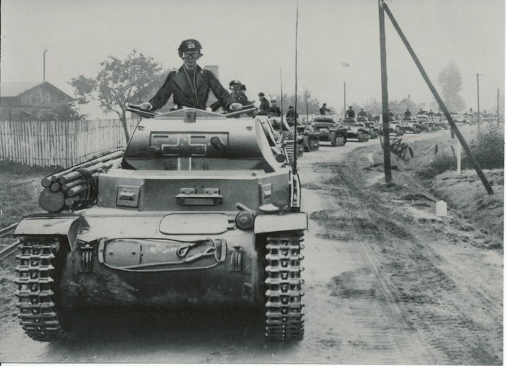 A very long column of Panzer 1 tanks on the march during the early months leading to the start of WW2
