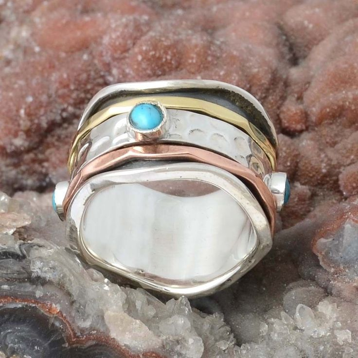 925 SOLID STERLING SILVER TURQUOISE RING JEWELLERY 7.61g DJR9891 SZ-6 #Handmade #Ring