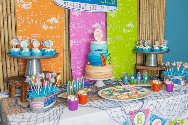 Anders Ruff Custom Designs, LLC: A Girly Surfing Birthday Party Printables Surf Club Surfer Girl Sharks