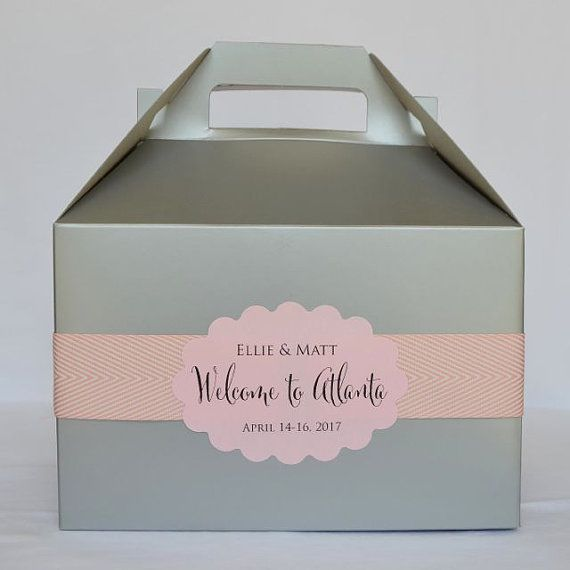 Colorful Hotel Welcome Boxes with Personalized by GraciousBridal, $3.25