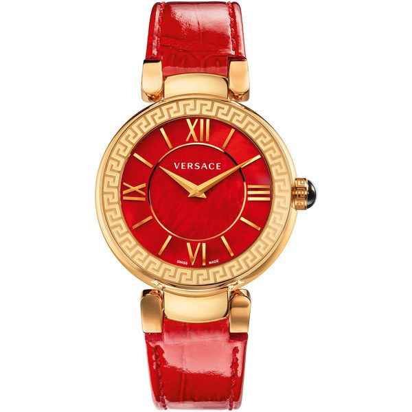Versace Watches Women's Leda Mother of Pearl Watch - Red (5.002.500 IDR) ❤ liked on Polyvore featuring jewelry, watches, red, swiss quartz watches, cabochon jewelry, versace watches, red wrist watch and mother of pearl watches