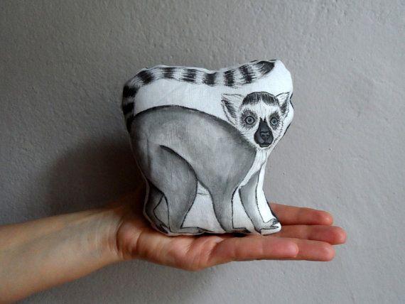 Lemur Plush Mini Pillow Decor  Handpaint Soft by ShebboDesign