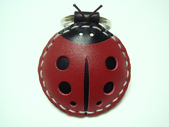 Leather Keychain  Penny the LadyBug Leather Charm by leatherprince, $17.90