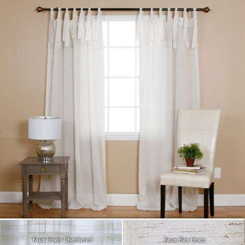 "Linen Lorraine Home Fashions: Faux Linen Tie Top Curtain Pair- 84"" L- Flax"