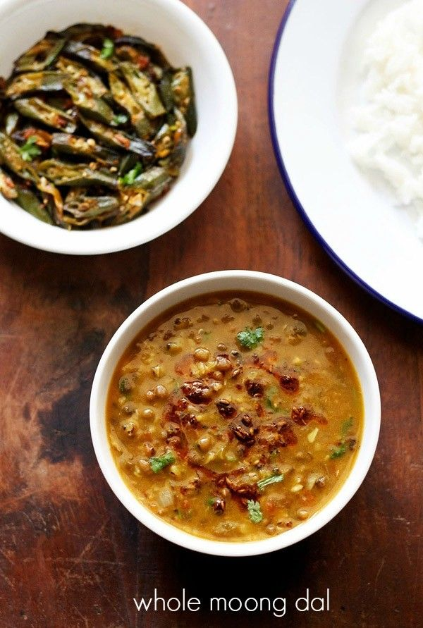 whole green moong dal recipemain ingredients: ½ cup moong dal, soaked in water for an hour or two hours or overnight 2 tbsp oil 1 medium tej patta/indian bay leaf ½ tsp cumin seeds 1 medium onion, chopped or ⅓ cup chopped onion 1 large tomato, finely chopped or ½ cup finely chopped tomatoes