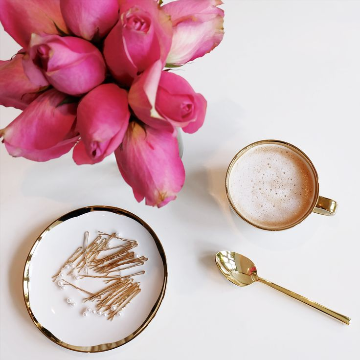 Delightful sunny afternoon sipping on a latte while creating beautiful pearl bobby pins. Just in time for the holiday celebrations.  Available in the shop => www.melissamercierdesigns.com  #gold #white #pearls #bobbypin #coffee #cup #mug #spoon #pink #roses #tearoses #latte #flowers