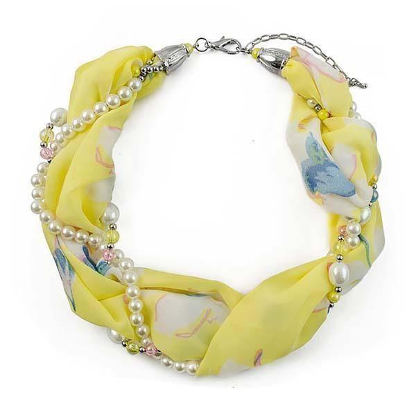 Šála s bižuterií Eleonora 299el004-10 - žlutá s květy - Bijoux Me!