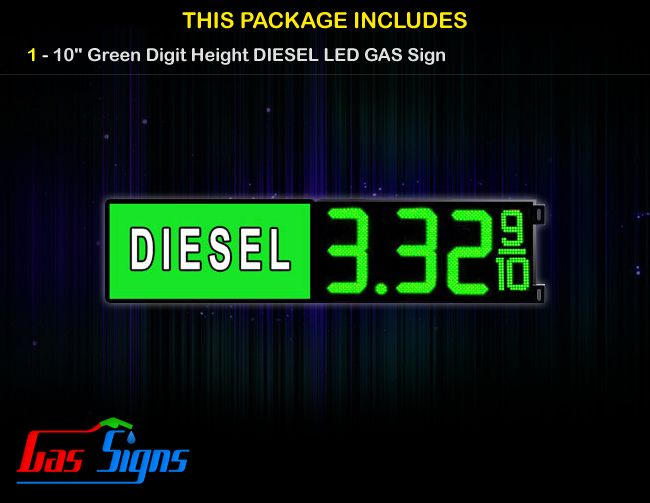 10 Inch DIESEL Gas Price LED Sign - Green LEDs with 3 Large Digits and fraction digits with housing dimension and format 8.88 9/10 comes with complete set of Control Box, Power Cable, Signal Cable & 2 RF Remote Controls (Free remote controls).