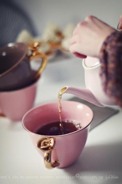 Pink, Purple & Gold Tea Set