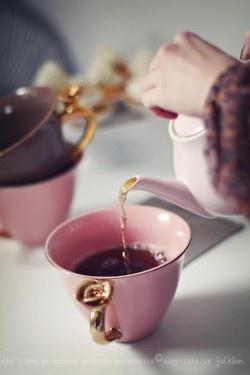 Pink, Purple & Gold Tea Set