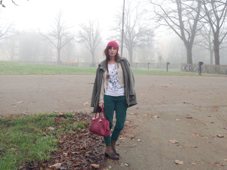 STYLIGHT: Acquista Moda e Abbigliamento online » #parka #pants #green #burgundy #outfit