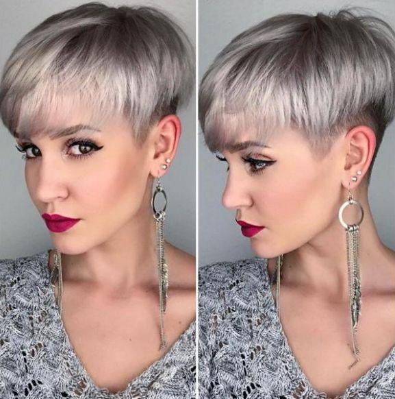 Cheveux gris rase femme
