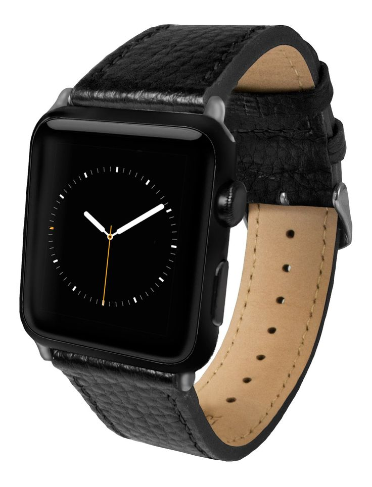 Apple Watch Band, Top-Grain Genuine Leather Watchband for 42mm Apple Watch by Silk - Secure Metal Buckle & Adjustable Strap - (Black Leather)