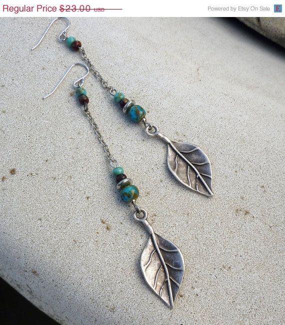 Sale - Black Friday Etsy Cyber Monday Etsy - Dangle Earrings -  Long, Silver, Turquoise Blue, Leaf, Tribal, Rustic, South Western