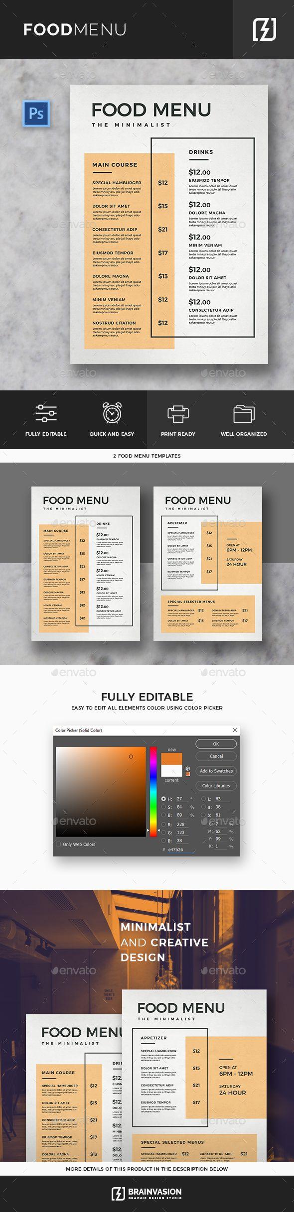 Minimal #Food #Menu Template - Food Menus Print Templates Download here:  https://graphicriver.net/item/minimal-food-menu-template/20014433?ref=alena994