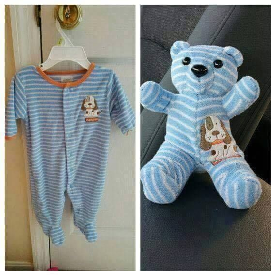 ~ Image only.....Repurpose infants sleeper into teddy bear