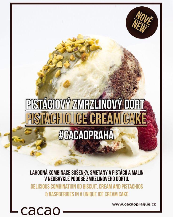 Vyzkoušejte novinku v #cacaopraha - #zmrzlinový dort s #pistáciemi, malinami a čokoládovým korpusem