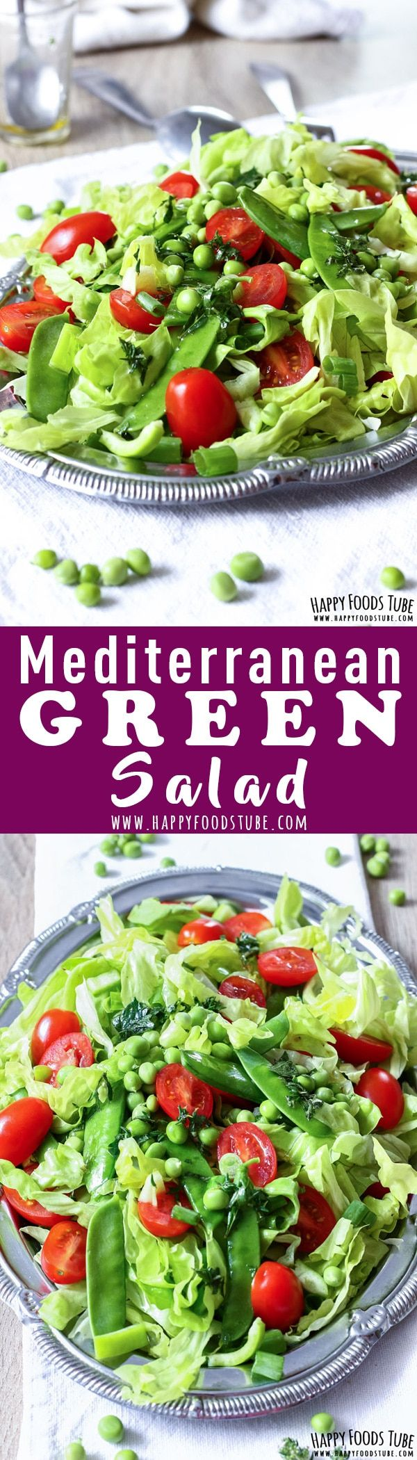 This crispy Mediterranean green salad is easy to make & ready in 10 minutes. It's perfect for outdoor entertaining and grill parties. Vegetarian Mediterranean diet recipe via @happyfoodstube