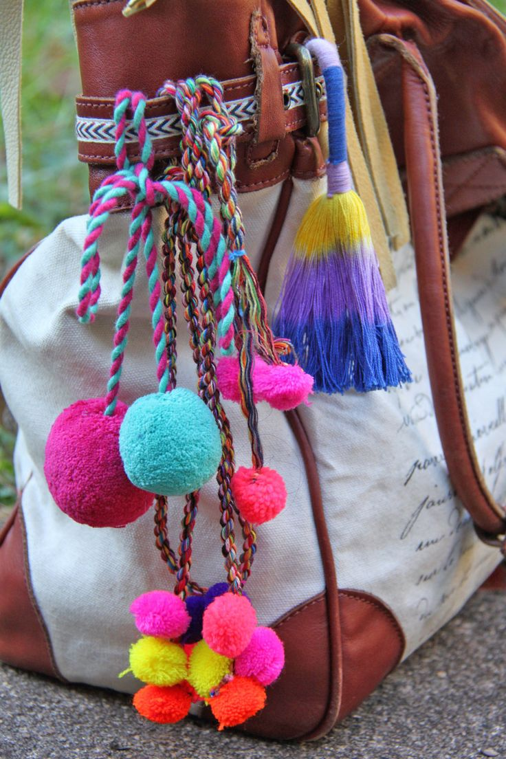 Pom Poms and Tassel Purse Charms - what every bohemian needs
