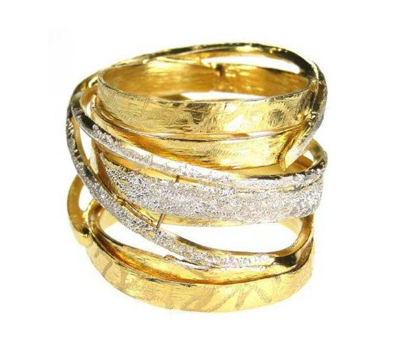 Gold and Silver Crossover wrap ring multi band ring greek ring wide band
