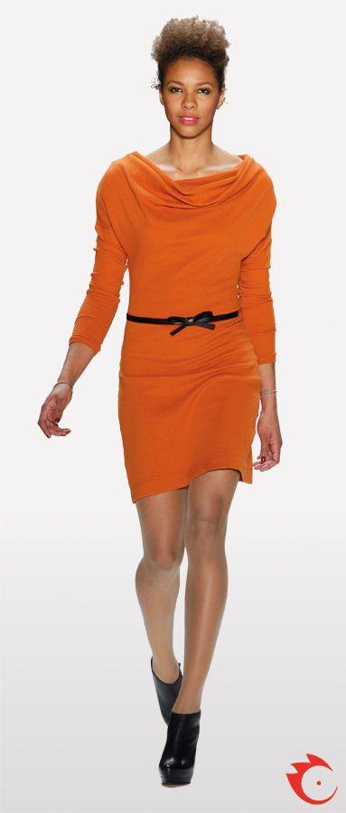 anja gockel fancy orange dress with waterfall collar and bleck belt