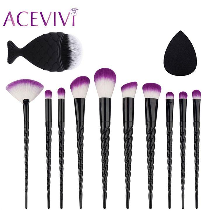 11 PCS Pincéis de Maquiagem Conjunto de Cosméticos Da Sombra Em Pó Escova do Bordo Com o Sopro de Pó Beleza Professional Make Up Kits Hot nova