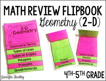 This resource is a flipbook for reviewing six geometry skills:The flipbook contains a section for the following:Geometric Terms (points, rays, line segments, and lines)Types of LinesTypes of AnglesPolygonsTriangles Quadrilaterals Click here to see the all of my Flipbook Resources.
