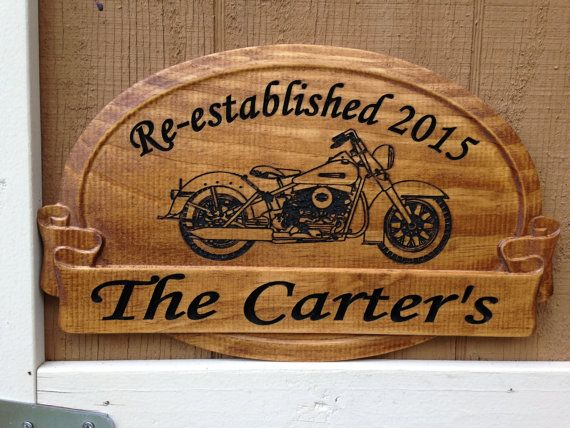 Signs With Harley Davidson Carved Graphic Biker Anniversary Gift Personalized Family Name Sign Renewal Of Vows Elished
