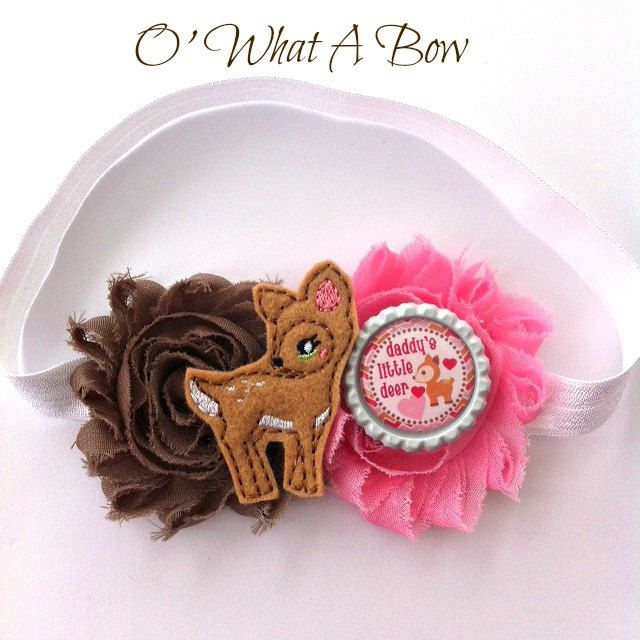 Pink And Brown Baby, Shabby Chic Headband, Deer Headband, Daddys little girl, Daddys Little Princess, Newborn Headband, Brown Baby Headband by OWhatABow on Etsy