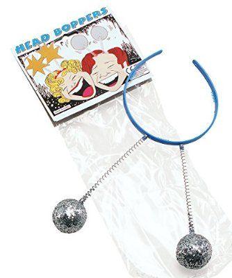 Bristol Novelties Head Boppers Silver Balls Coloured Headband, Band Colour May Vary
