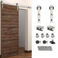 WinSoon 5-8FT Sliding Barn Door Hardware Stainless Single Door Track Kit Bent