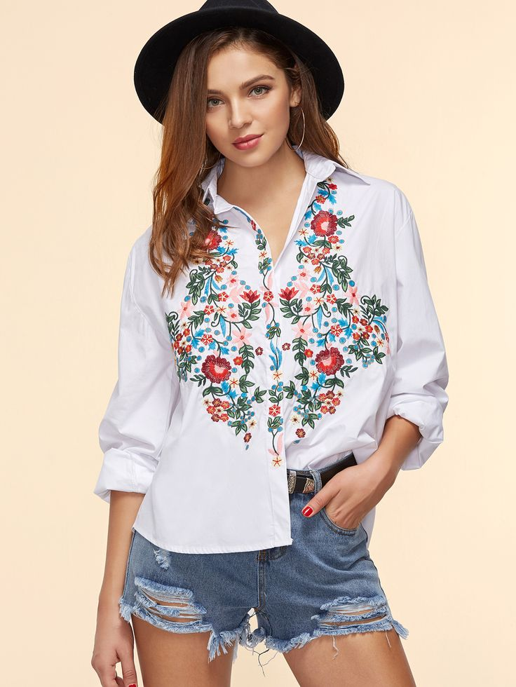 Shop White Flower Embroidered High Low Blouse online. SheIn offers White Flower Embroidered High Low Blouse & more to fit your fashionable needs.