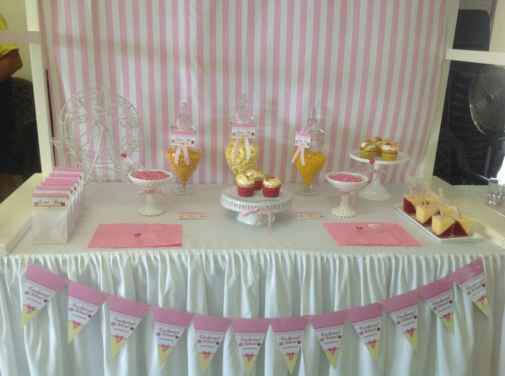 Pretty pink and yellow buffet.