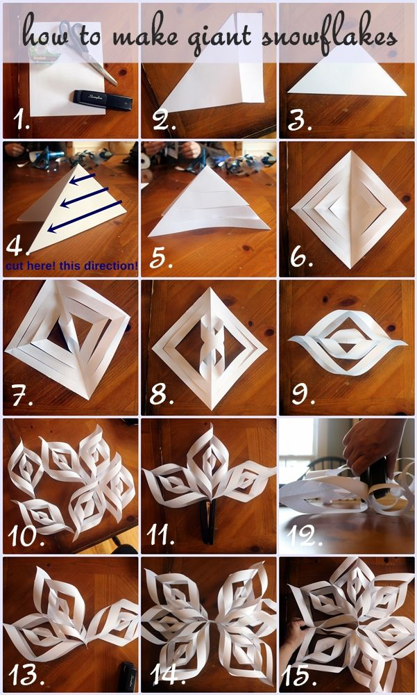 How to make giant paper snowflakes step by step photo for How to make easy crafts step by step