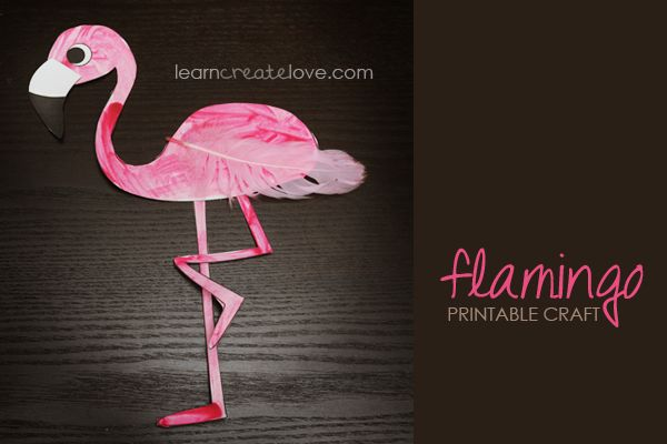 { Printable Flamingo Craft } It'd be fun if the girls could make this craft and glue it to the front of a card. Then we could hold onto them and use them for writing the thank you cards after the party.