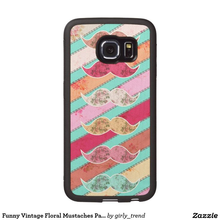 Funny Vintage Floral Mustaches Pastel Stripes Wood Phone Case