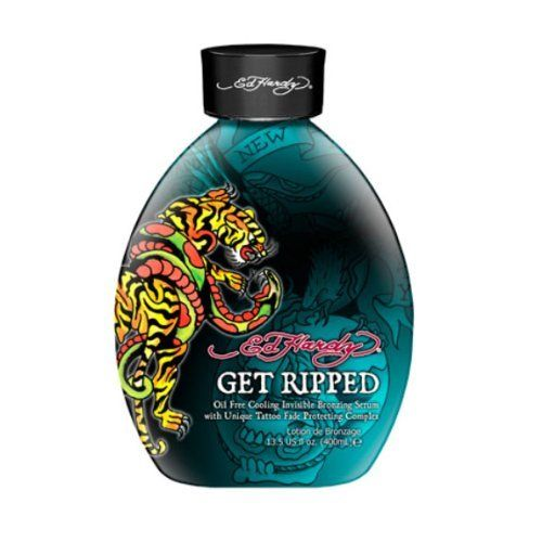 Ed Hardy Get Ripped Indoor Tanning Lotion Accelerator Bronzer Dark Tan Bed UV by Ed Hardy. Save 63 Off!. $22.00. Oil Free Cooling Formula With Bronzing. Bronzer/Cooling Show them what you are made of! Why not? You will be looking and feeling your best after this extreme bronzing formula that delivers a refreshing cooling sensation to the skin. The oil free serum provides a fast delivery system so you can get your tan on faster. The Tattoo Fade Protector Complex prevents fading of your body…