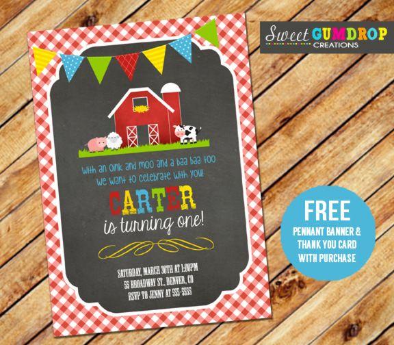 Chalkboard Barnyard Birthday Photo Invitation Farm