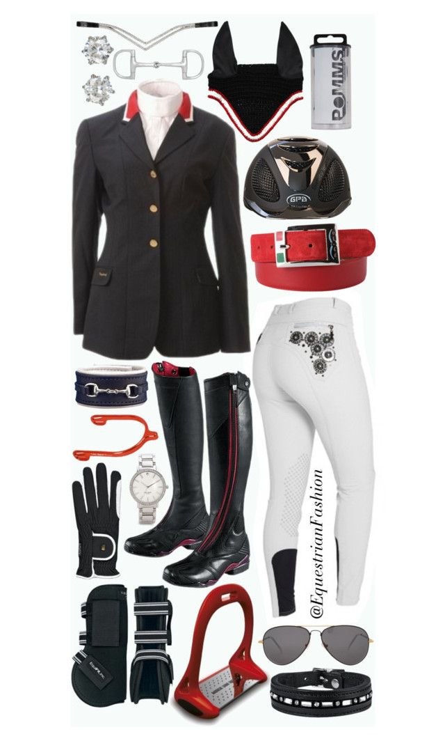 """""""Red White and Black"""" by equestrianfashionofficial ❤ liked on Polyvore featuring Ariat, Sheriff&Cherry, Kate Spade and Juicy Couture"""