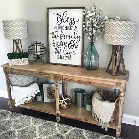 Bless The Food Before Us Wood Sign Rustic By CoastalCraftyMama. Entryway  Table DecorationsHallway Table DecorHall Way DecorDining Room ...