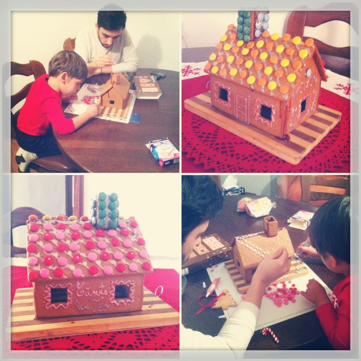 Claudiu making a #gingerbread house for Christmas with our nephew Teodor @mauvert_blog
