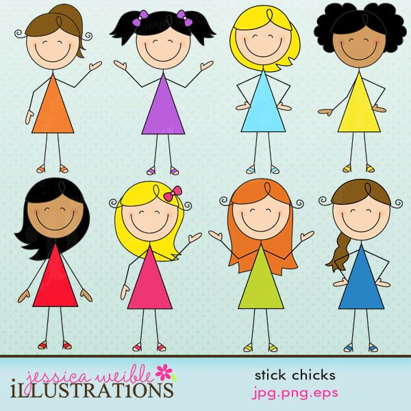 Stick Chicks- I like the first one but with a bun instead of a full pony tail.