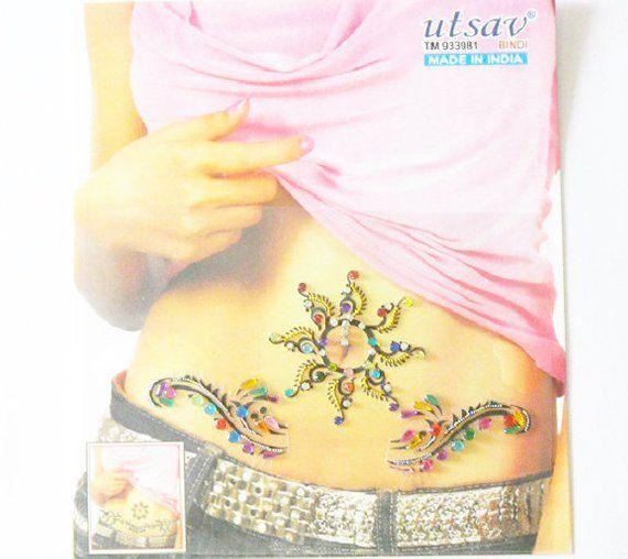 Body Jewellery Sticker Self Adhesive Tattoo Bindis Rhinestone Belly Button Decor