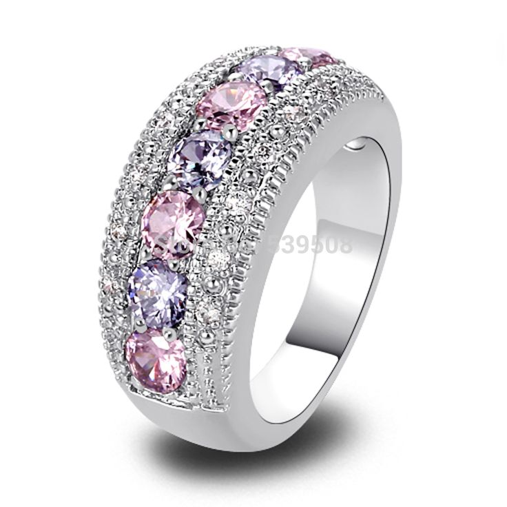Find More Rings Information about Exquisite Women Jewelry Round Cut Pink & White Sapphire Band 925 Silver Band Ring Size 6 7 8 9 10 11 12 Wholesale Free Shipping,High Quality ring settings sterling silver,China silver rings size 11 Suppliers, Cheap silver rings jewellery from only 1 jewelry Co., Ltd. on Aliexpress.com
