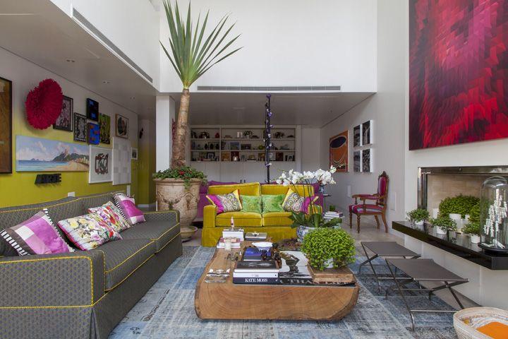 Decoracao De Sala De Tv Com Sofa Cinza ~ sala com sofa azul turquesa e amarelo  Pesquisa Google  living room