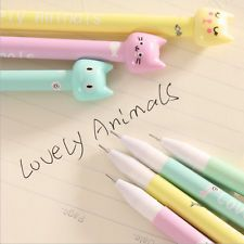 4pcs/set Novelty Cute Cartoon Cat Gel Ink Pen Stationery School Supplies Random