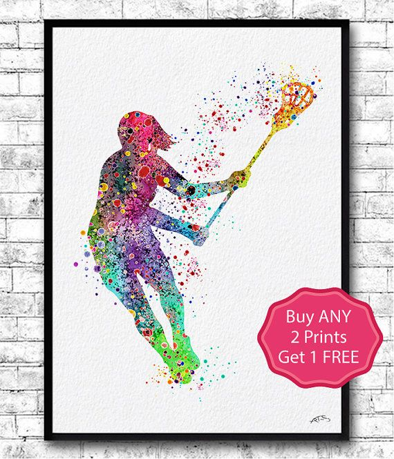 Lacrosse Girl Player Sports Art Print Watercolor by ArtsPrint