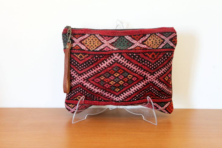 Antique kilim wristlet, oversized handbag, festival boho clutch, leather and Moroccan rug. With detachable strap or tassel. Ready to ship by lipsandpieces on Etsy